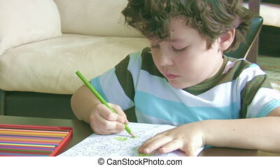 Little boy doing homework