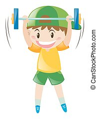 Little boy doing weightlifting