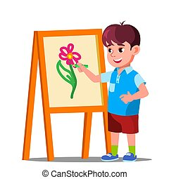 Little Boy Draws On Paper With Colored Pencils Vector. Isolated Illustration