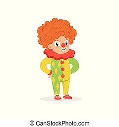 Little boy dressed as a clown, cute kid in halloween costume vector Illustration