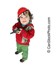 Little boy dressed as builder