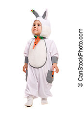 Little boy dressed as bunny. Isolated