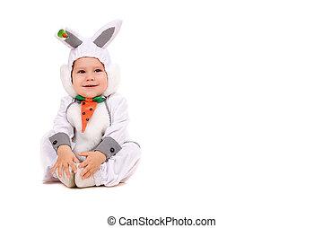 Little boy dressed as bunny