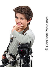 Little boy dressed as cameraman