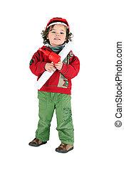 Little boy dressed as foreman