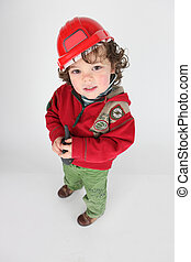 Little boy dressed as foreman
