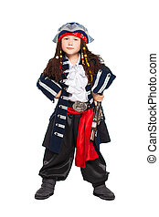 Little boy dressed as medieval pirate