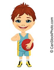 little boy dressed in basketball gear holding basketball and showing thumbs up