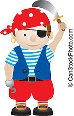 pirate cartoon - little boy dressed up as a pirate cartoon