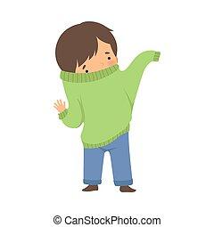 Little Boy Dressing Up Himself Vector Illustration. Cute ...
