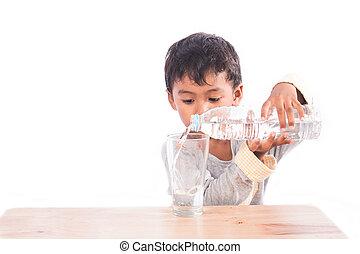 Little boy drinking water