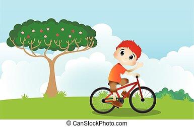 Little boy drive a bicycle