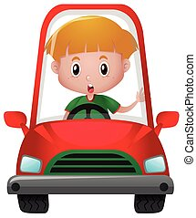 Little boy driving in red car