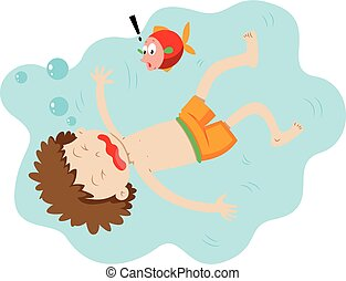 Little boy drowning under the water