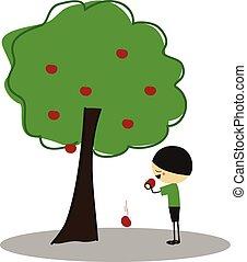 Little boy eating apples