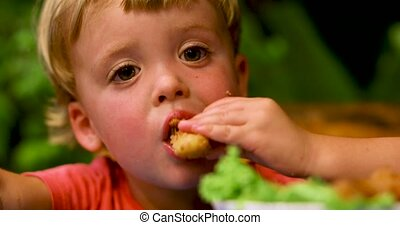 Little boy eating fried chicken garden on background