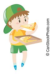 Little boy eating pizza