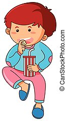 Little boy eating popcorn and drinking soda