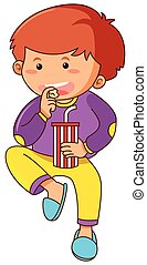 Little boy eating snack and drinking soda