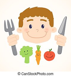 Little Boy Eating Vegetables