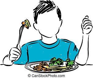 LITTLE BOY EATING VEGETABLES VECTOR ILLUSTRATION