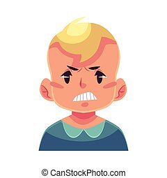 Little boy face, angry facial expression