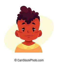 Little boy face, neutral facial expression
