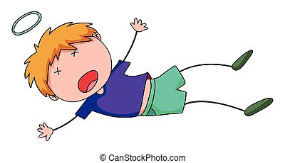 Little boy falling down