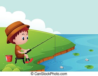 Little boy fishing by the river bank