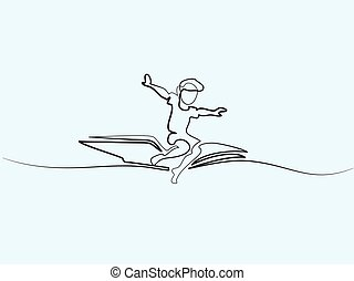 Little boy flying on book in the sky