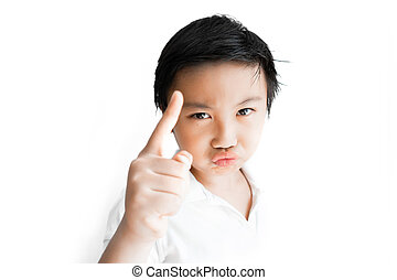 Little boy funny face on white background.