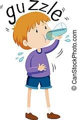 Little boy gazzle from water bottle