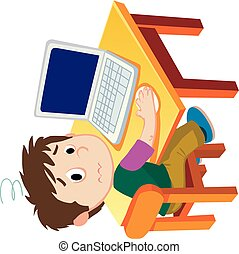 boy gets tired because he has been using the computer for a long time