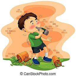 Little boy getting drunk illustration