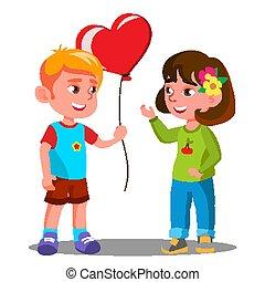 Little Boy Gives The Girl Red Heart Balloon Vector. Illustration