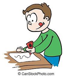 little boy gluing paper