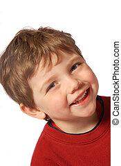 Little boy - happy kid on white background