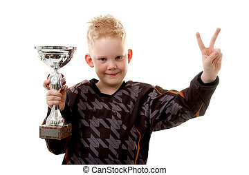 Little boy has won the second place trophy cup over white...