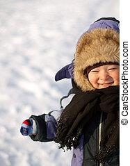 Little Boy Have Winter Fun - Little boy have fun in snow ...