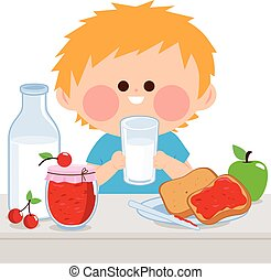 A boy is having his breakfast of milk, jelly, toast, and fruits. Vector illustration