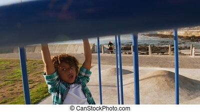Little boy having fun at playground