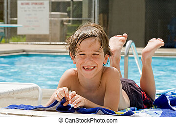 Boy Having Fun at the Pool