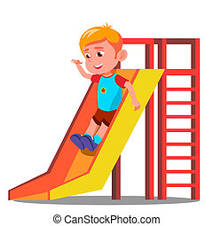 Little Boy Having Fun On The Slide Vector. Isolated Illustration