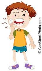 Little boy having toothache illustration