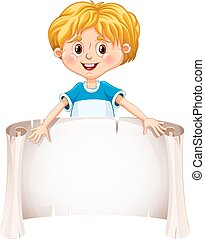 Little boy holding a blank sheet. Vector illustration