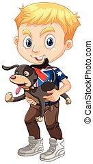 Little boy holding a dog