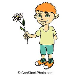 Little boy holding a flower.