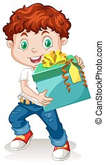 Little boy holding a gift box