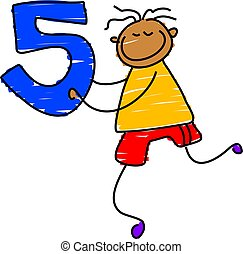 number five - little boy holding a number five - toddler art
