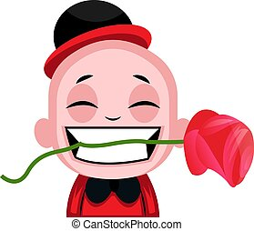 Little boy holding a rose in his teeth illustration vector on white background